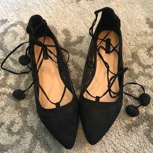 Black Tie Up Flats